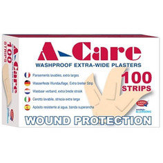 A-care Washproof Large Strip Plasters 75mm x 25mm - 100 per box