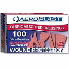 Aeroplast Premium Elasticated Fabric Plasters (6 sizes) - 100 per box