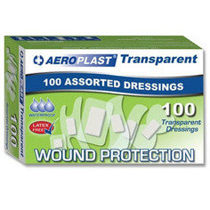 Aeroplast Transparent Washproof Assorted Plasters (6 Sizes) 100 Plasters Per Box
