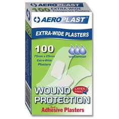 Aeroplast Transparent Washproof Large Strip Plasters 75mm x 25mm 100 Plasters Per Box