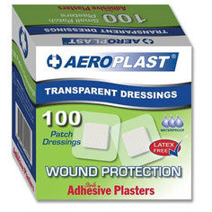 Aeroplast Transparent Washproof Square Plasters 100 Plasters Per Box