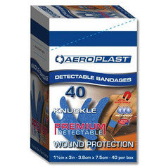 Aeroplast Premium Blue Detectable Knuckle Plasters - Pack of 40