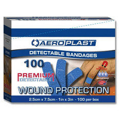 Aeroplast Premium Blue Detectable Large Strip Plasters 25mm x 75mm - Pack of 100