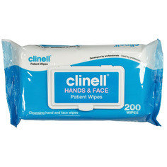 Clinell Hands and Face Patient Wipes, 200 wipes