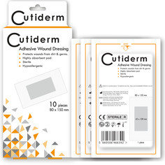 Cutiderm Adhesive Sterile Wound Dressings - Pack of 10 (100mmx150mm)