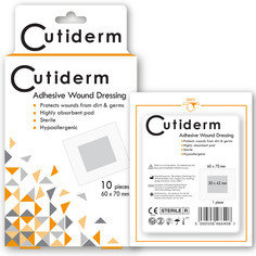 Cutiderm Adhesive Sterile Wound Dressings - Pack of 10 (60mmx70mm)
