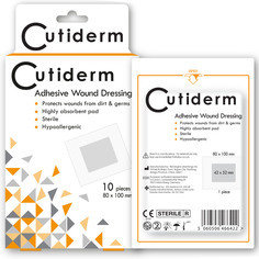 Cutiderm Adhesive Sterile Wound Dressings - Pack of 10 (80mmx100mm)