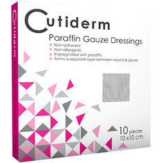 Cutiderm Sterile Paraffin Gauze Dressing 10cm x 10cm - Pack of 10