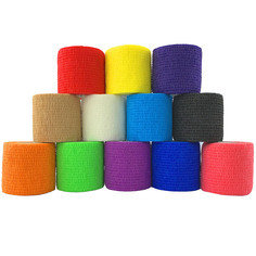 Inksafe Assorted Colours Self Adherent Cohesive Bandages 5cm x 4.5m Box of 12