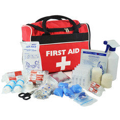 Sportpro All-Purpose Sports First Aid Kit in Large Red Run- On Bag