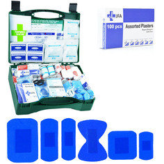 JFA BSI Large catering first aid kit including 100 blue detectable plasters