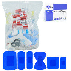 JFA BSI Small catering first aid kit refill including 100 blue detectable plasters