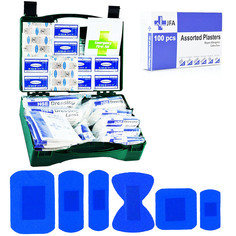 JFA HSE 10 Person catering first aid kit including 100 blue detectable plasters