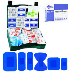 JFA HSE 50 Person catering first aid kit including 100 blue detectable plasters