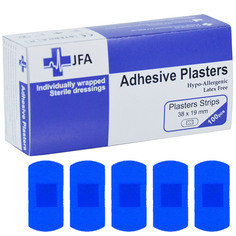 JFA Medical Blue Small Strip 19x38mm Plasters 100 Plasters per box