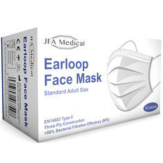 JFA Medical Earloop 3PLY EN14683 type IIR Face Mask - Box of 50
