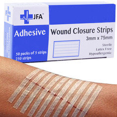 JFA Medical Wound Closure Strips 3mm x 75mm - 250 strips per pack