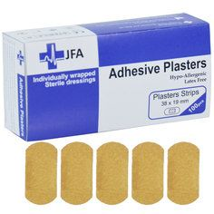 JFA Fabric Small Strip Plasters 18x38mm 100 Plasters per pack