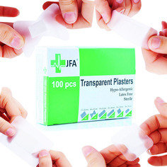 JFA Transparent Washproof Assorted Plasters (6 Sizes) 100 Plasters Per Box