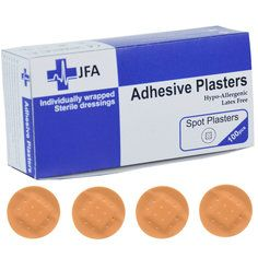 JFA Washproof Spot Plasters 22 x 22mm 100 Plasters Per Box