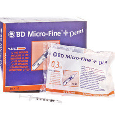BD Micro-Fine™+ Demi Insulin Syringes 1ml 30g x 8mm - Pack of 200 B3324899