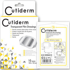 Pack of 10 Cutiderm Transparent Film Adhesive Sterile Wound Dressings 100mm x 120mm