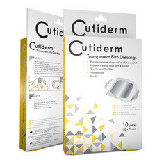 Pack of 10 Cutiderm Transparent Film Adhesive Sterile Wound Dressings 60mm x 70mm - Tattoo, Wounds, Abrasions