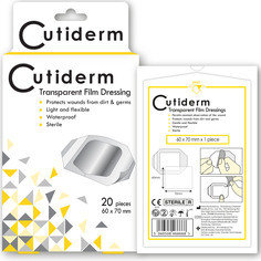Pack of 20 Cutiderm Transparent Film Adhesive Sterile Wound Dressings 60mm x 70mm - Tattoo, Wounds, Abrasions