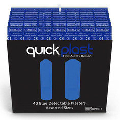 Quickplast Pilferproof Blue Plasters - Pack of 40 x 6