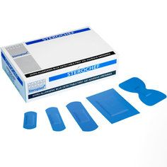 Steroplast Assorted Blue Detectable Plasters (5 sizes) - 100 per box