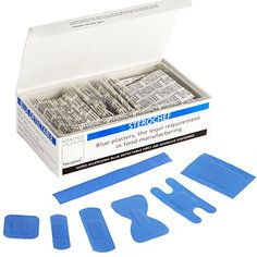 Steroplast Assorted Blue Detectable Plasters (7 sizes) - 100 per box