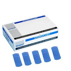 Steroplast Medium Blue Detectable Plasters - 100 per box