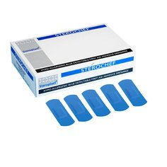 Steroplast Large Strip Blue Detectable Plasters -100 per box (75mm x 25mm)