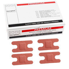 Steroplast Premium Elasticated Fabric Knuckle Plasters - 50 per box