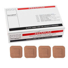 Steroplast Premium Elasticated Fabric Square Plasters - 50 per box