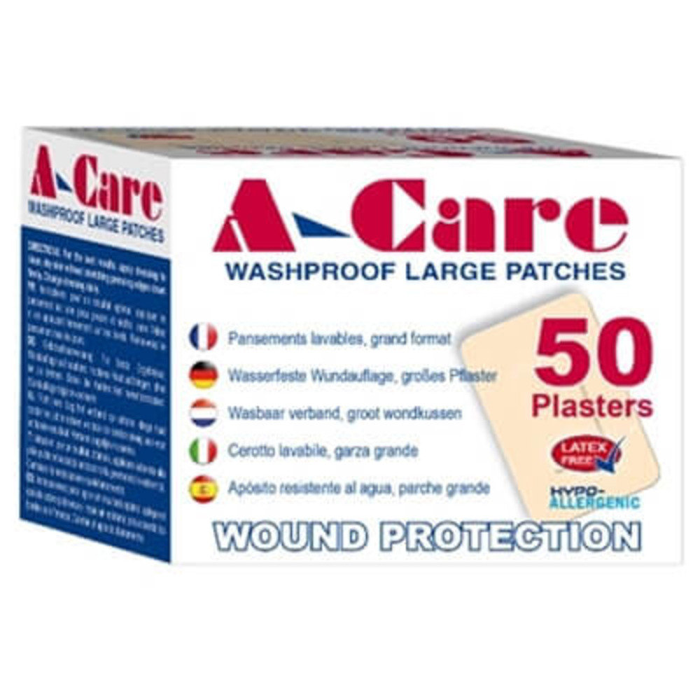 A-care Washproof Jumbo Plasters  75mm x 50mm - 50 per box
