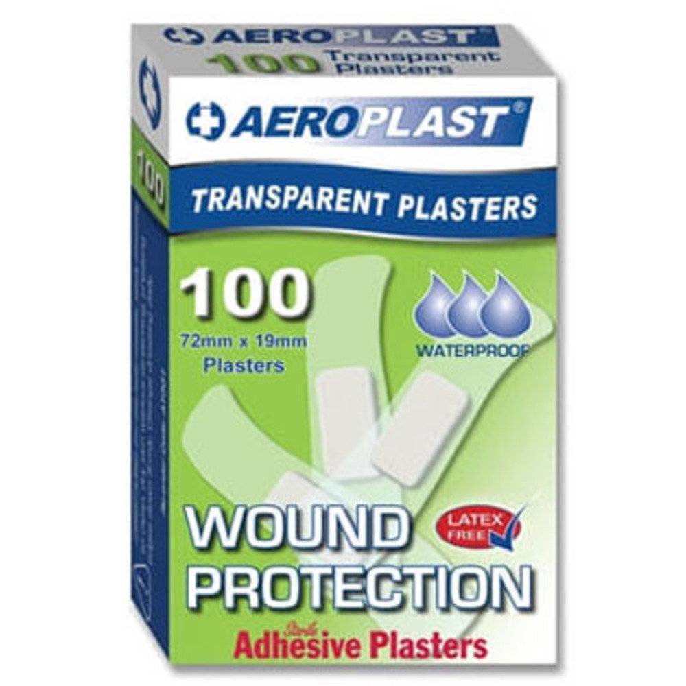 Aeroplast Transparent Washproof Medium Strip Plasters 72mm x 19mm 100 Plasters Per Box