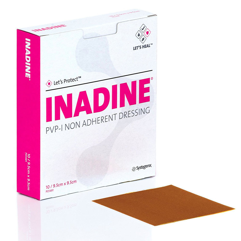 Premium Inadine Low-adherent Pad 9.5cm x 9.5cm - Pack of 10