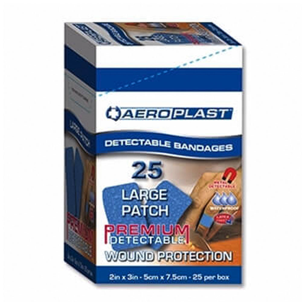 Aeroplast Premium Blue Detectable Jumbo Plasters 75mm x 50mm- Pack of 25