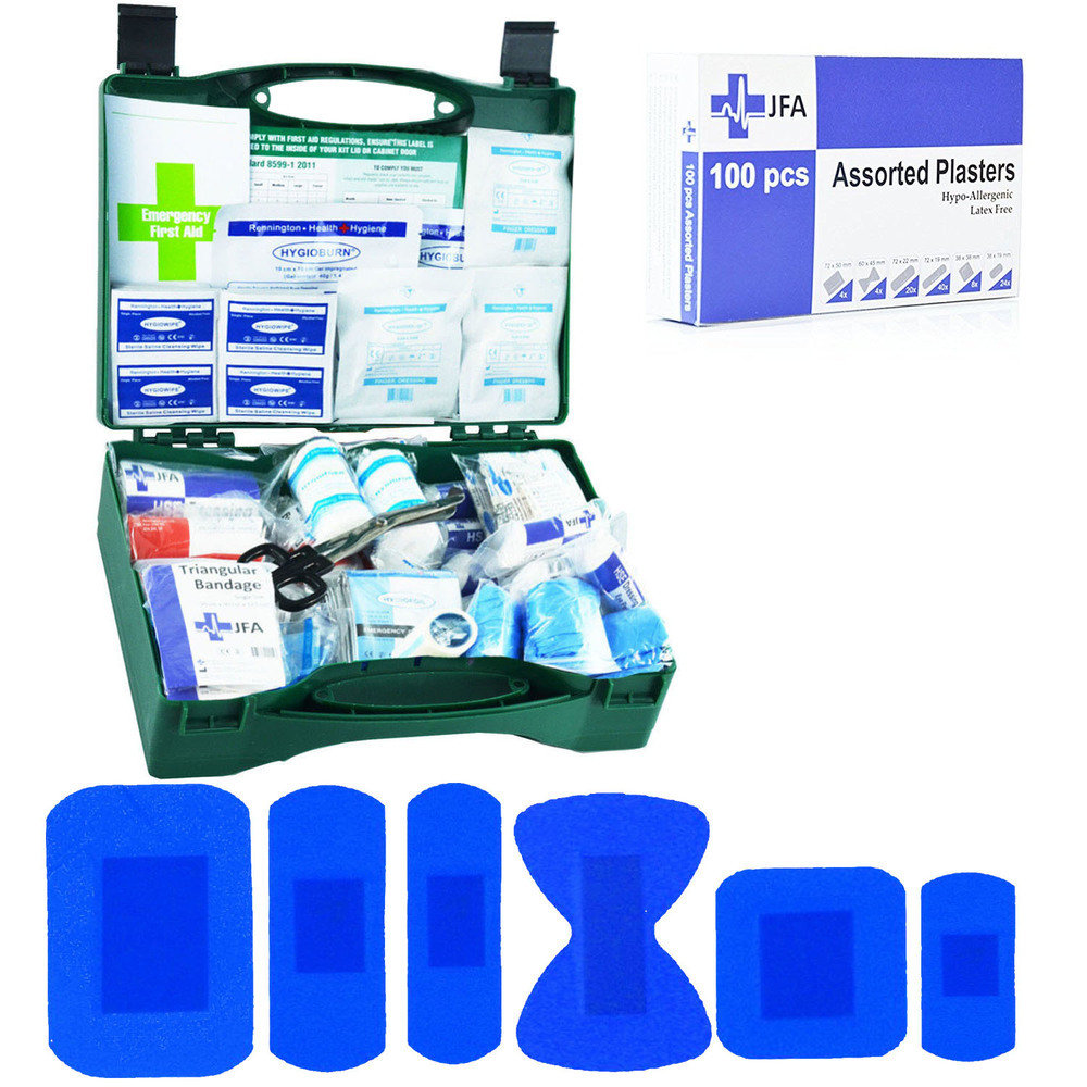 JFA BSI Medium catering first aid kit including 100 blue detectable plasters