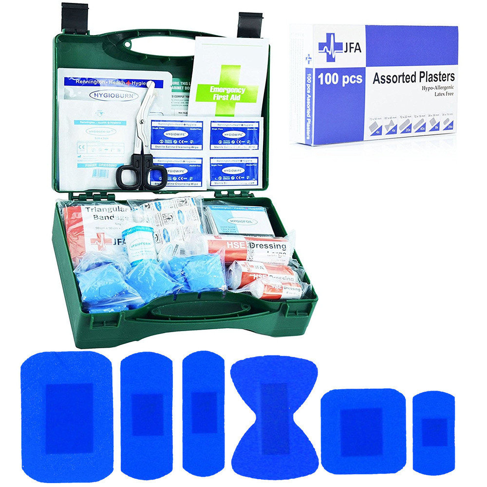 JFA BSI Small catering first aid kit including 100 blue detectable plasters