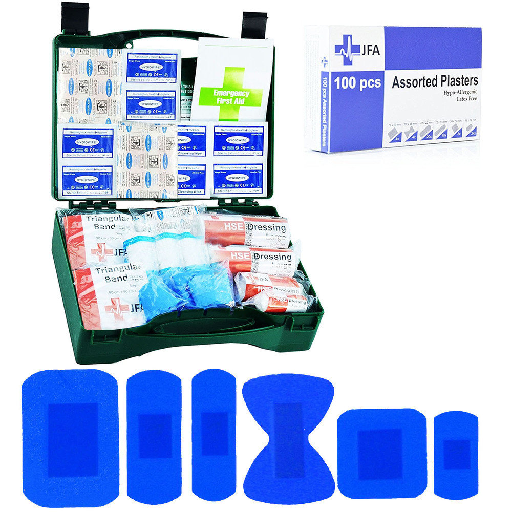 JFA HSE 20 Person catering first aid kit including 100 blue detectable plasters