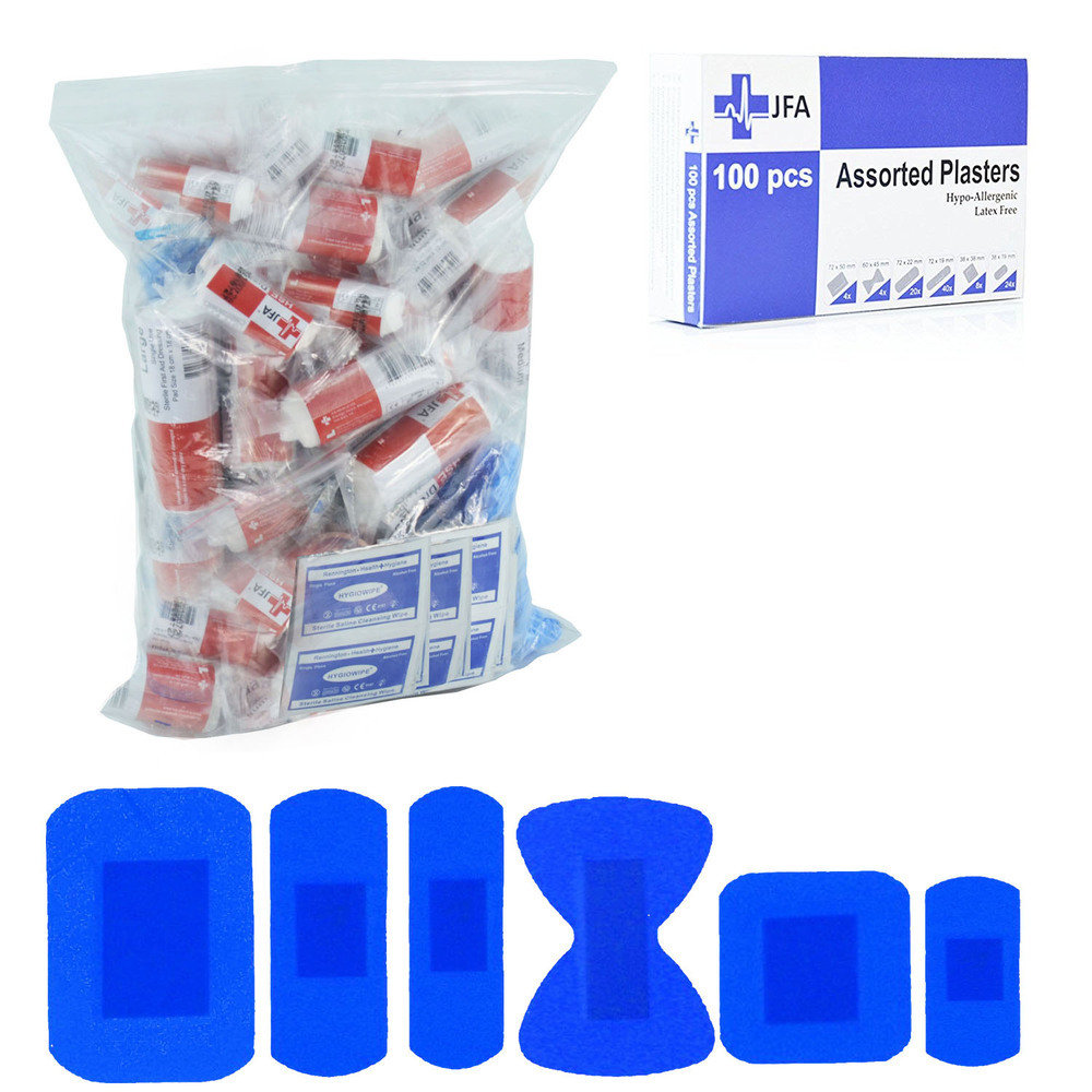 JFA HSE 20 person catering first aid kit refill including 100 blue detectable plasters
