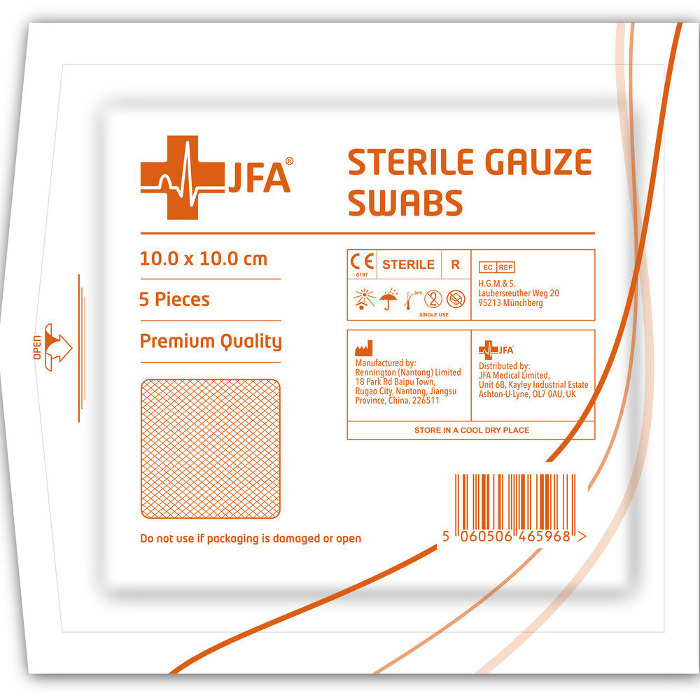 new styles 42eeb 3e4d7 JFA Premium Sterile Gauze Swabs 10cm x10cm - Box of 100 ...
