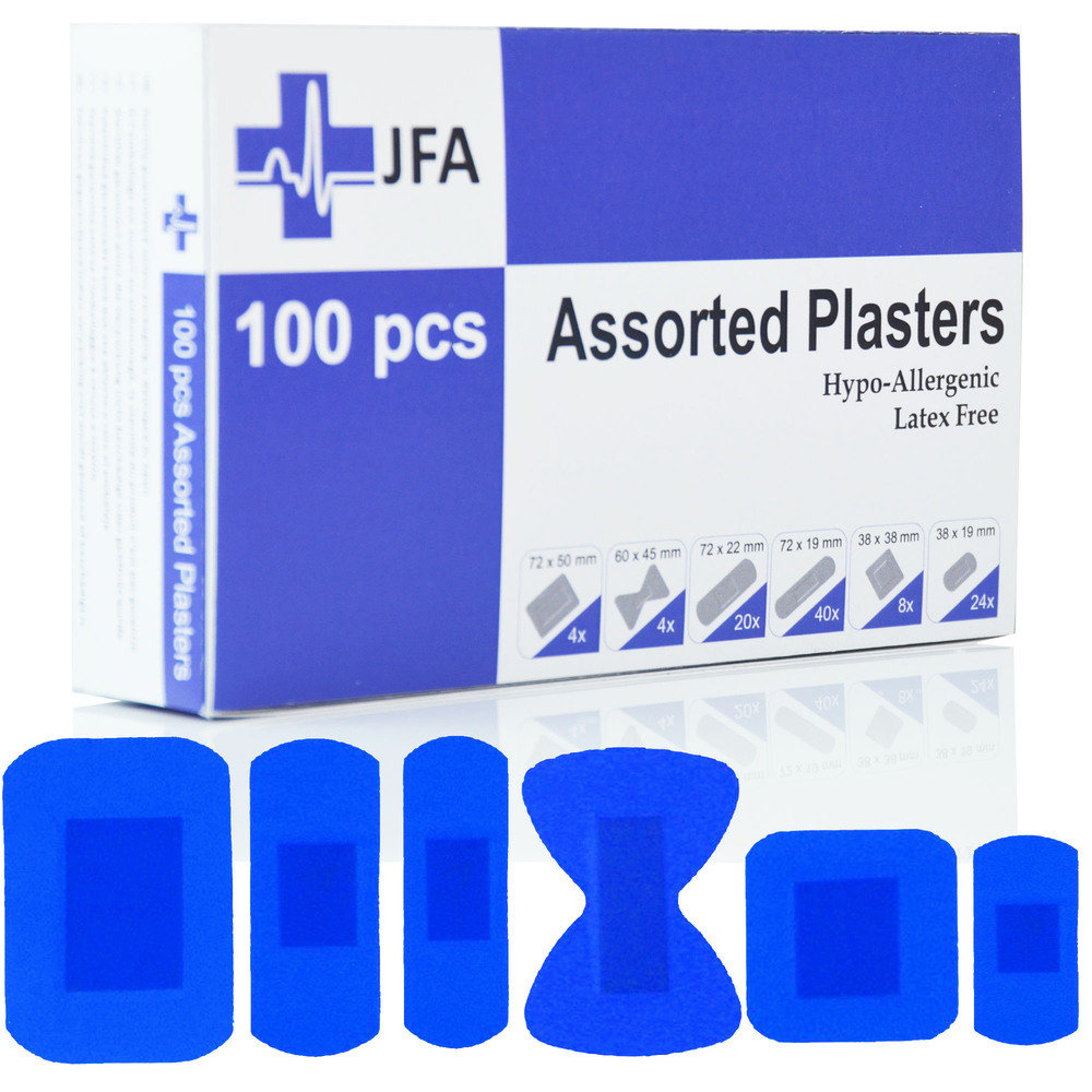 JFA Medical Blue Assorted Plasters (6 sizes) 100 Plasters per box