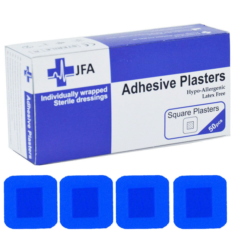JFA Medical Square Blue Plasters - 50 per pack