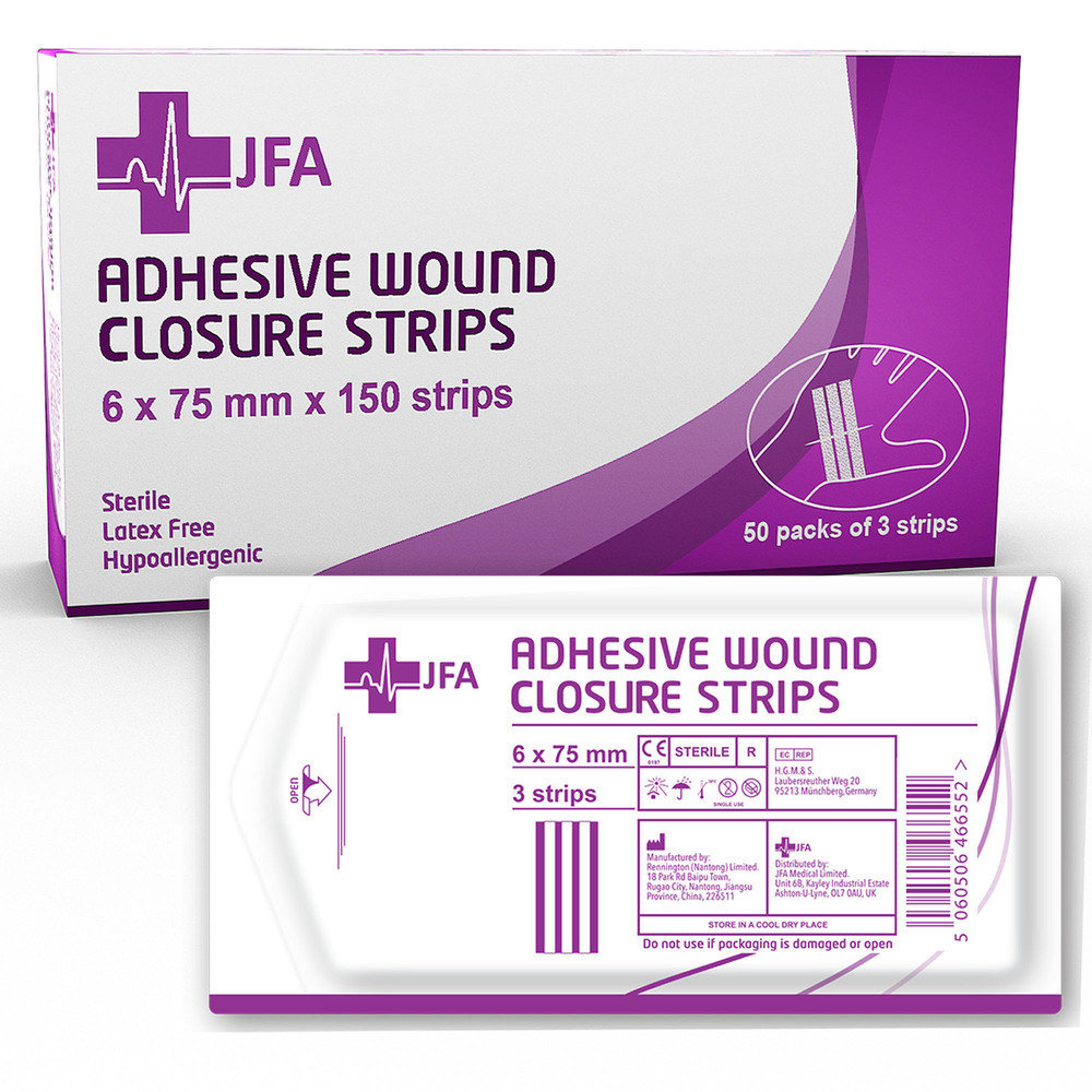 JFA Medical Wound Closure Strips 6mm x 75mm - 150 strips per pack