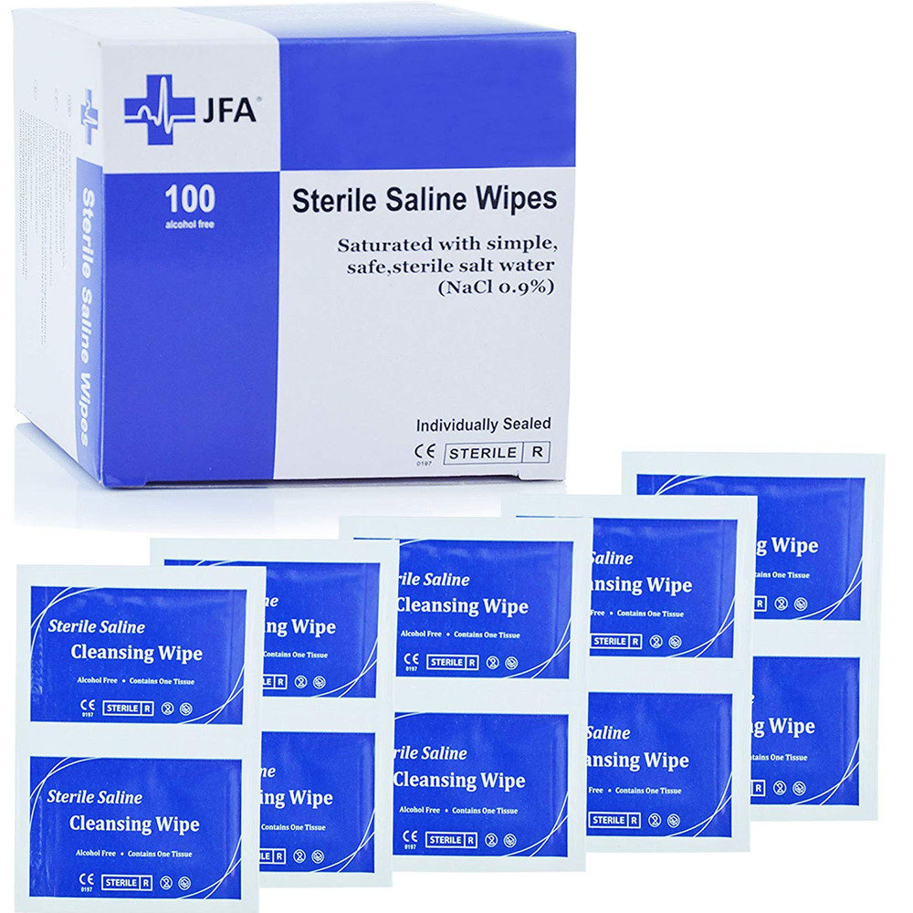 Premium Sterile Saline (0.9% NaCl) Wipes - Box of 100