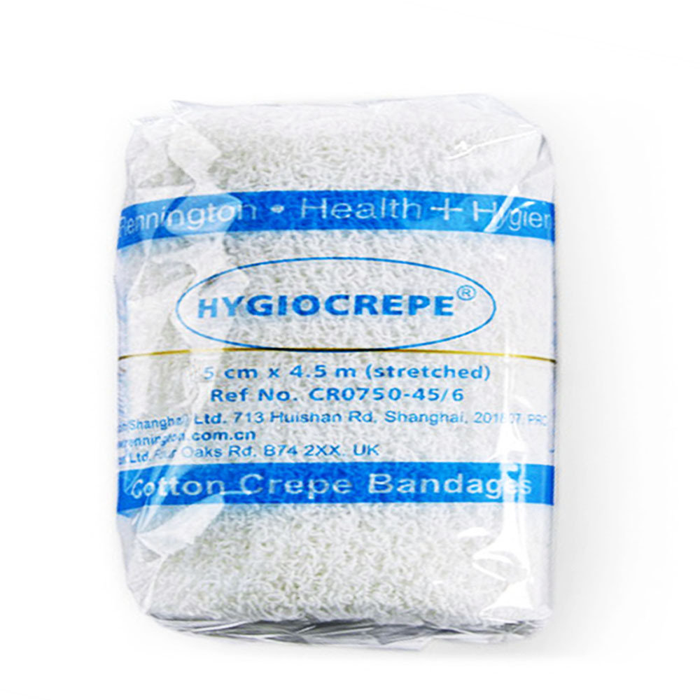 Rennington High Quality Cotton Crepe Bandages with elastic metal clips (5cmx4.5m) - Single