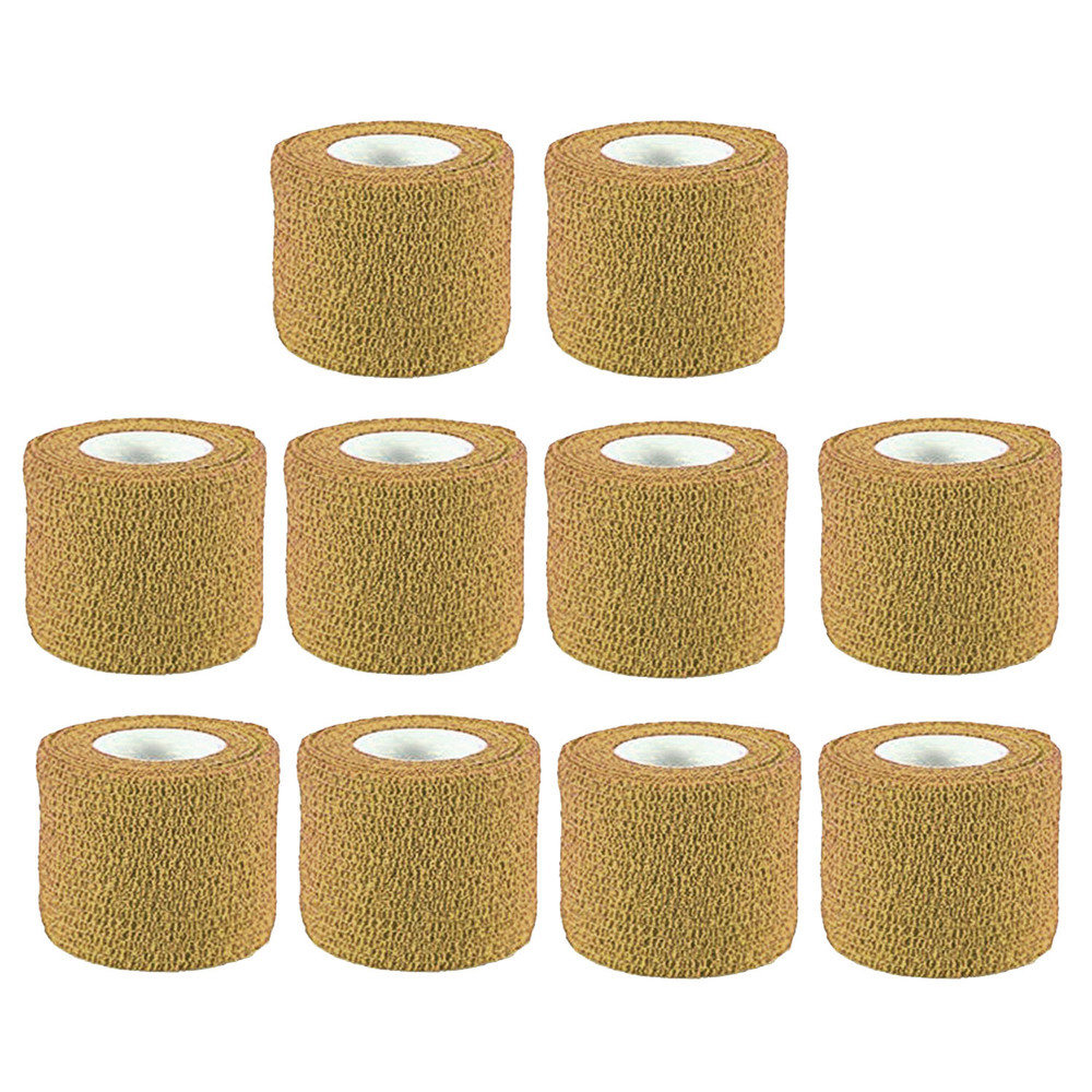 Tan Colour Cohesive Latex Bandage 5cm x 4.5m - Pack of 10
